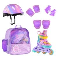 Коньки роликовые ALPHA CAPRICE  FLORET (шлем+защита) фиолетовый