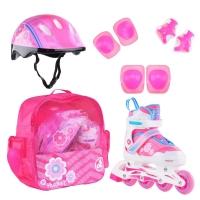 Коньки роликовые ALPHA CAPRICE  FLORET (шлем+защита) бело-розово-голубой