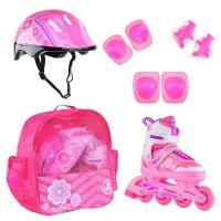 Коньки роликовые ALPHA CAPRICE  FLORET (шлем+защита) бело-розово-фиолетовый