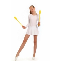 Купальник гимнастический SKAT 8016 с юбкой белый